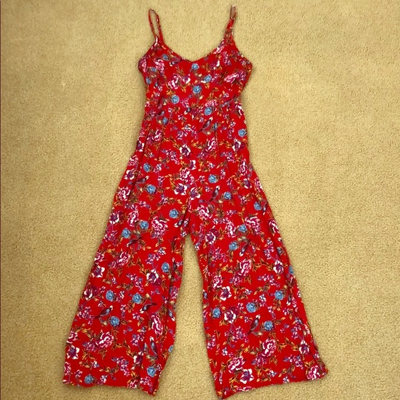 Red cropped jumpsuit